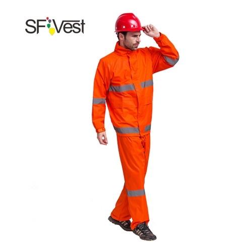 SFVest de alta visibilidad traje de lluvia reflectante traje de seguridad luminosa traje impermeable al aire libre Senderismo hombres y mujeres impermeable Oxford revestimiento