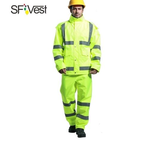 SFVest Alta Visibilidade Reflective Rainwear Terno Espessamento Luminosa Segurança Capa De Chuva Terno Ao Ar Livre Caminhadas Equitação Homens e Mulheres À Prova D 'Água Oxford Pano de Revestimento