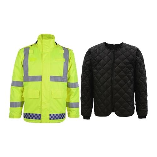 SFVest High Visibility Reflective Waterproof Rain Jacket Rainwear Coat Luminous Safety Raincoat Outdoor Traffic Police Hiking Riding Warning Safety Winter Detachable Cotton Jacket