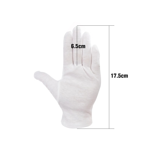 12 Pairs/Lot White Soft Cotton Ceremonial Gloves Stretchable Lining Glove for Male Female Serving/Waiters/Drivers Gloves, Coin Jewelry Silver Inspection Gloves
