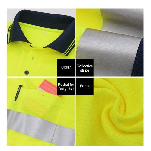 """SFVest Safety Reflective Shirt с высокой видимостью с длинным рукавом Карманная футболка 2 """"Серебряные отражающие ленты Мужская влажность Wicking Safety Polo Shirt Рабочая одежда фото"""