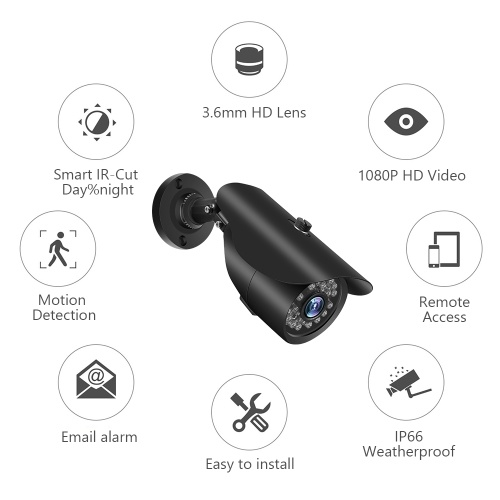1080P HD 2.0MP Bullet Analog Camera with Metal Housing Built-in 36pcs IR-CUT LED Lights Intelligent Motion System IP66 Waterproof NTSC System