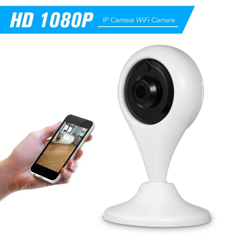 1080P HD IP Kamera WiFi Kamera Baby Monitor 2.0MP H.264 6 IR Leds IR-CUT Nachtsicht Bewegungserkennung Telefon APP Fernbedienung mit Externem TF Kartensteckplatz für Indoor Home Security, Weiß