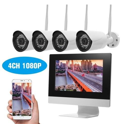 4チャンネルHD 1080PワイヤレスWiFi NVRキット10.1