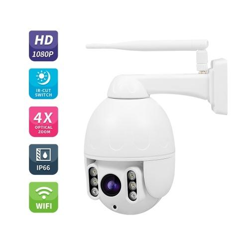 PTZ WiFi Camera Outdoor 1080P IP Security Camera Pan Tilt 4X Optical Zoom Dome Surveillance Monitor
