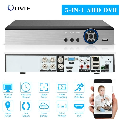 4CH 1080P Full High Definition Hybrid AHD/ONVIF IP/Analog/TVI/CVI/ DVR CCTV Digital Video Recorder DVR P2P Remote Phone Monitoring for Home office Security Surveillance System kit Camera (NO HDD) EU Plug