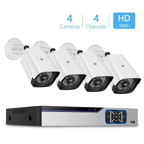 1080n Pro HD	 + 4CH Video Security Digital Recorder + 4pcs Analog Security Cameras (HDD Not Included) US Plug