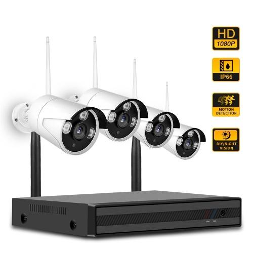 4CH NVR + 4 pcs1080P Kit de Câmeras de Visão Noturna Câmera IP de Segurança e Sistema de Vigilância Suporte Controle Remoto UK Plug