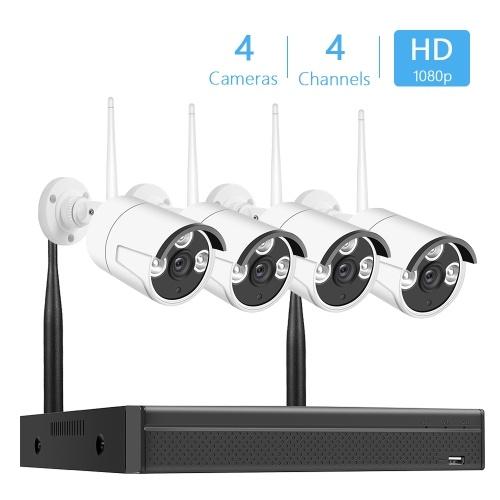 Drahtloser NVR-Installationssatz 4Channel Network Video Recorder + 4pcs 2.0MP 1080P IP Kameras stützen Fernsteuerungs-AU Stecker