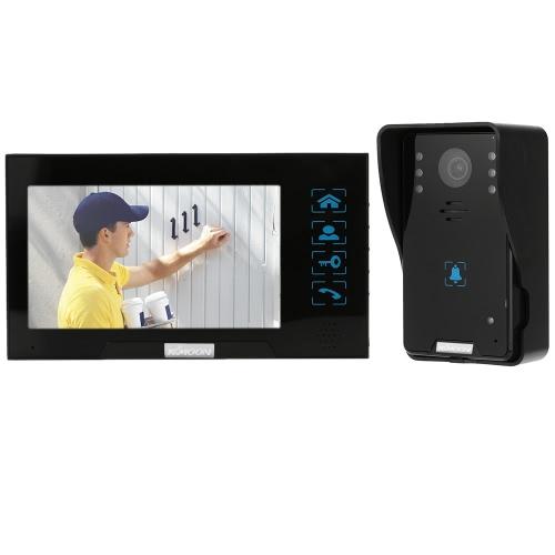 1 * 800×480屋内モニター+ 1とKKmoon®7「有線ビデオドア電話システムを録音/スナップショットビジュアルインターホン呼び鈴* 1000TVL屋外用カメラ+ 8G TFカードのサポートタッチボタンドアエントリのアクセス制御システムのためのロックを解除赤外線ナイトビュー防雨ロック時間遅延調整可能な角度