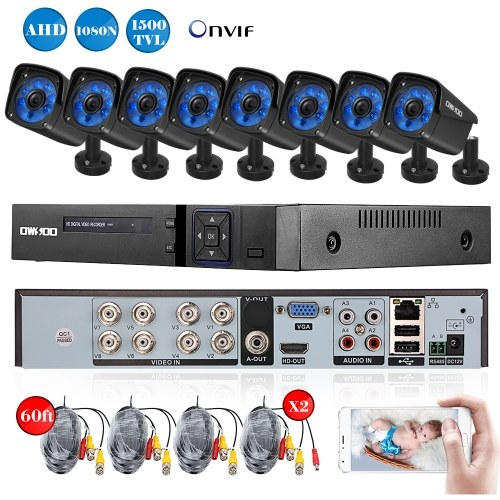 OWSOO 8CH Kanal Full AHD 1080N 1500TVL CCTV Überwachungs-DVR Sicherheitssystem