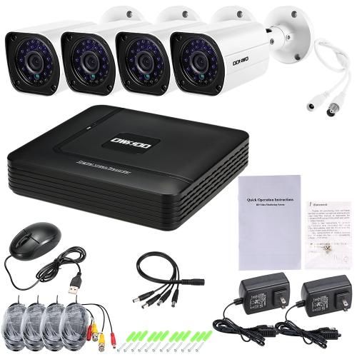 OWSOO 4CH 1080N DVR + 4pcs AHD 720P Bullet CCTV Camera  PAL System