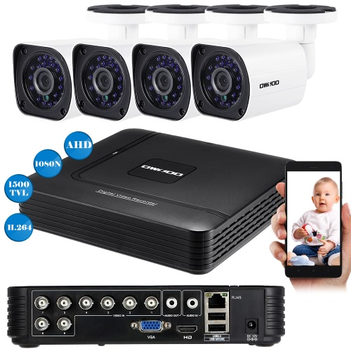OWSOO 8CH 1080N DVR + 4pcs AHD 720P Outdoor Bullet CCTV Camera PAL System