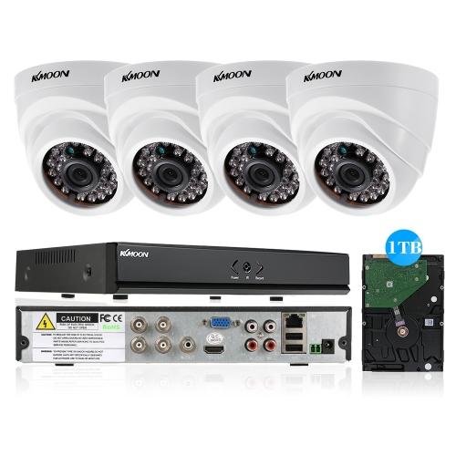KKmoon 4CH Channel Full 1080N AHD DVR HVR NVR + 4 * 1800TVL AHD Dome Câmera CCTV IR + 4 * 60ft Cabo de vigilância + 1TB Suporte de disco rígido para Android / iOS APP Controle Detecção de movimento Visão noturna para sistema de segurança CCTV Sistema NTSC