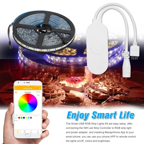 WIFI PC/TV Backlight Kit 5M 16.4ft RGB Light Strip LED Strip Lights