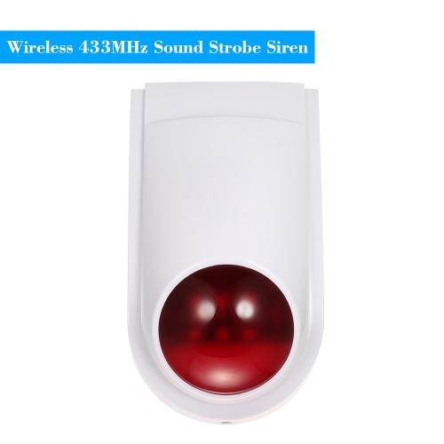 Som sem fio sirene strobe alarme host flash luz de alarme ao ar livre impermeável compatível com 433MHz controle remoto, sensor de porta, detector PIR Sistema de alarme de segurança em casa