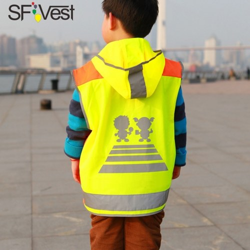 SFVest High Visibility Children Safety Reflective Vest Kindergarten Reflecting Coat Safety Clothing Reflective Clothes Vests Sport Reflective Fabric Outdoor Safety Road Traffic Warning for Kids Boy Girl фото