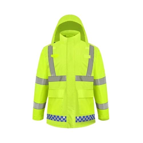 SFVest Hohe Sichtbarkeit Reflektierende Regenbekleidung Mantel Luminous Safety Regenmantel Outdoor Wandern Reiten Männer und Frauen Wasserdichte 300D Oxford Tuch Beschichtung