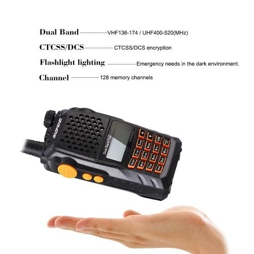 BAOFENG Pofung UV-6 Puls Walkie Talkie Двусторонняя радиостанция 136-174 / 400-520 МГц VHF / UHF Двухдиапазонный карманный радиоприемник Interphone 128 каналов памяти Голосовой широковещательный фонарик Аккумулятор Сохранить FM-радио