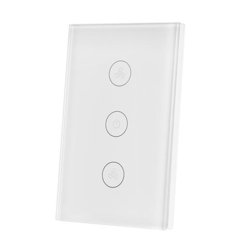 Tuya WiFi Smart Deckenventilator Schalter US / AU Smart Touch-Schalter Timer APP Fernbedienung Geschwindigkeit einstellbar Kompatibel mit Amazon Alexa, Google Home Voice Control