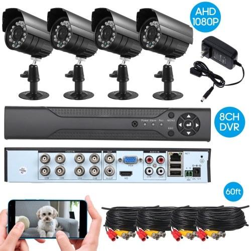 8CH Überwachungskamera-System Voller 1080P Video DVR-Recorder mit wetterfesten 4 * 1080P Indoor Outdoor CCTV-Kameras