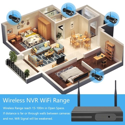 WiFi NVR KITS 4CH NVR + 2pcs 1080P Wireless IP Camera Support Remote Control Mobile Control US Plug