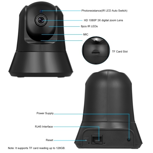 Wireless 1080P IP Camera WiFi Home Security Surveillance Camera for Baby Elder Pet Nanny Monitoring TF Card Record Pan/Tilt Two-Way Audio Night Vision Motion Detection