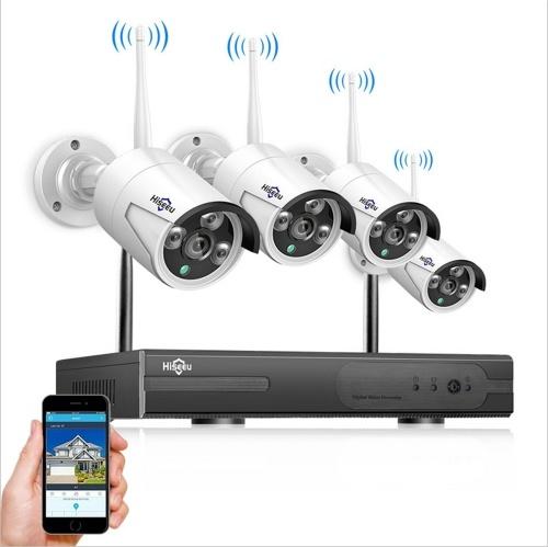 Sistema de câmeras de segurança sem fio 8CH 1080P NVR com 4pcs 2.0MP 1080P Full HD à prova de intempéries Câmeras IP de vigilância externa interna SEM disco rígido