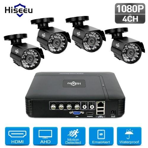 Überwachungskamerasystem 4CH 1080P DVR + 4 Stück 1080P Full HD Indoor Outdoor Wetterfeste CCTV-Kameras unterstützen Bewegungsalarm Fernzugriff KEINE Festplatte
