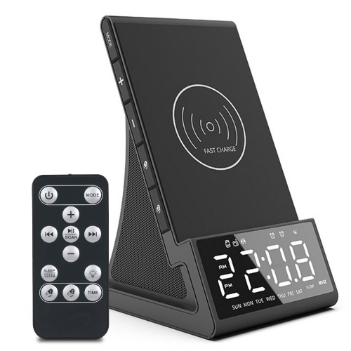 10W Wirelessly Charge BT Radio Alarm Clock Speaker