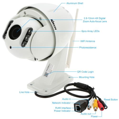 "KKmoon® 4"" 1080P 2.8-12mm Auto-focus PTZ Wireless WiFi IP Security Camera"