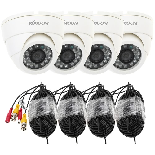 KKmoon® 800TVL Security Kit with 4pcs CCTV Camera + 4pcs 60ft Video Cable