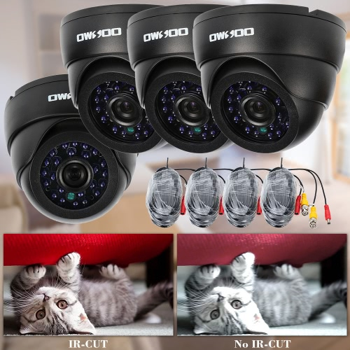 OWSOO 800TVL CCTV 4*Indoor Camera 4*60ft Cable Security Surveillance Kit