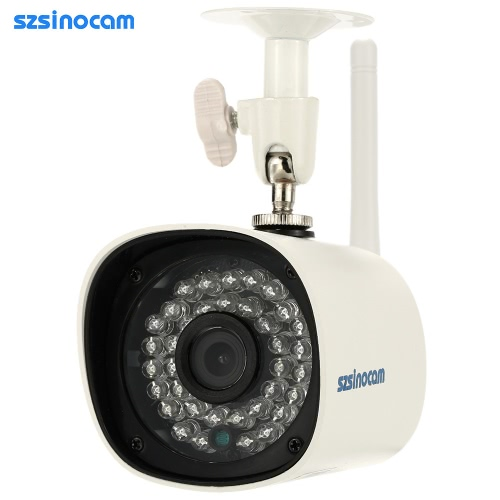 Szsinocam Megapixel HD 720p Wireless Wifi Camera + 8G TF Karte Überwachung P2P Netzwerk IP-Cloud Indoor Outdoor Bullet Überwachungskamera Support Onvif2.4 wetterfeste IR-CUT Night Vision Motion Detection E-Mail Alarm Android/iOS APP Free CMS