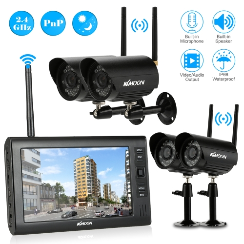 Digital Wireless DVR  Security System with 7 Inch LCD Monitor SD Card Recording and 4 Long Range Night Vision Cameras