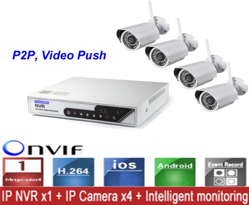 CCTV 4CH Wireless 720P NVR Surveillance System Kit with 4 Outdoor/Indoor Day/Night 1.0MP IP Cameras 36 LEDs Video Push 3G Wifi P2P Onvif