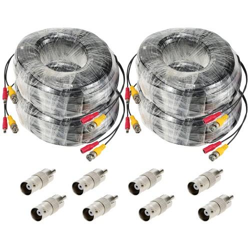 98ft câble siamois DC Power connecteur BNC vidéo 4pcs/lot pour CCTV caméra DVR