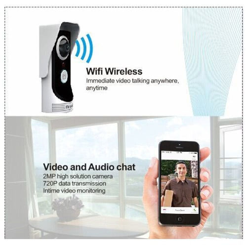 WIFI Video Door Phone Wireless Digital Smart Peephole Viewer Camera 2.0 Megapixel Night Vision Intercom Doorbell for Home Security Monitoring Motion Detection