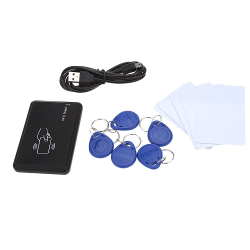 KKmoon Näherung Sensor ID Kartenleser Card Reader mit USB Schnittstelle 5pcs Karten + 5pcs Schlüsselanhänger 125KHz EM 4100