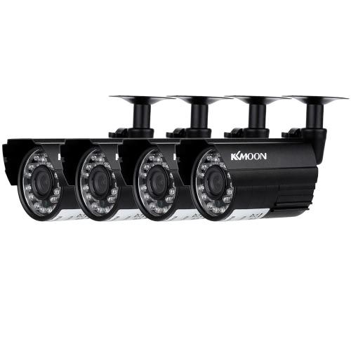 KKmoon 4pcs AHD 720P Wetterfest CCTV Kamera Kit IR CUT Farbe CMOS Haussicherheitssystem 3.6mm