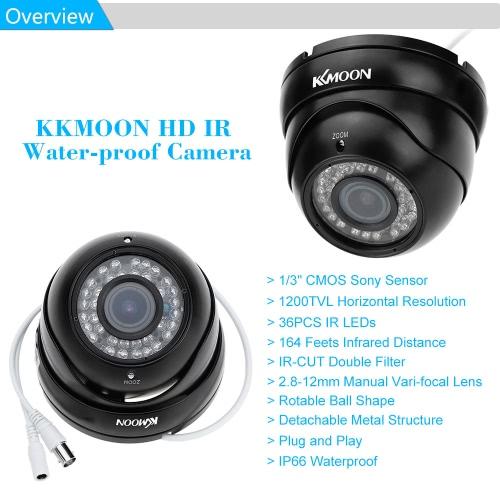 CCTV Sony 1200TVL CMOS Dome Camera IR CUT Zoom Lens 2.8-12MM Outdoor Waterproof