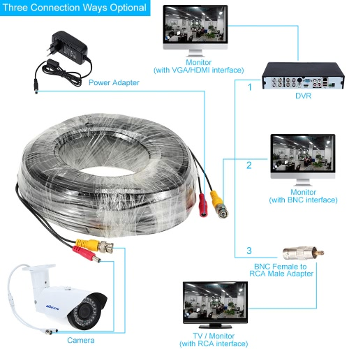 131ft BNC DC Connector Video Power Siamese Cable for CCTV Camera DVR
