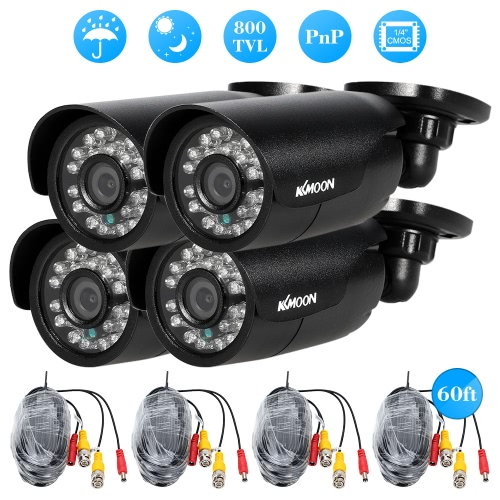 KKmoon 4pcs 800TVL CCTV Outdoor Camera Set IR CUT Bullet Video Surveillance 3.6mm фото