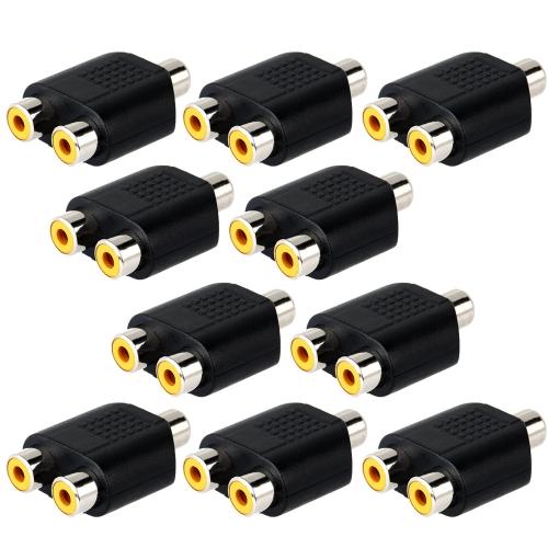 Phono RCA Buchse zu 2 RCA Buchse Adapter 10pcs Kit für CCTV oder DVR oder AV Geräte