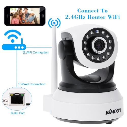 KKmoon® HD 720P Megapixels Wireless WiFi Pan Tilt Network IP Cloud Indoor Camera Baby Monitor support PTZ TF Card Record 2-way Talk P2P Android/iOS APP IR-CUT Filter Infrared Night View Motion Detection Alarm Browser View for CCTV Surveillance Security System