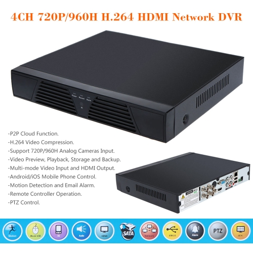 4CH 720P/960H CCTV DVR Videorekorder Standalone  H.264 HD mit Fernbedienung