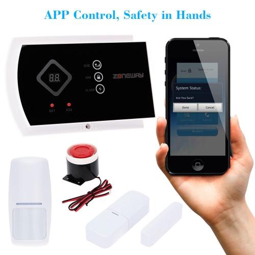 ZONEWAY Drahtlos ANDROID IOS APP Phone Kontrolle GSM SMS Autodial Haus Diebstahlschutz Alarm Sicherheit System