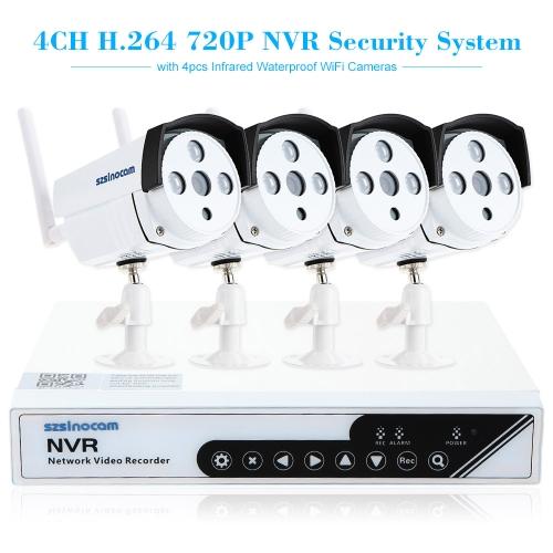szsinocam 4 canales HD 720p H.264 NVR Kit 4pcs cámara IP con Win8 UI Touch Panel sistema y seguridad