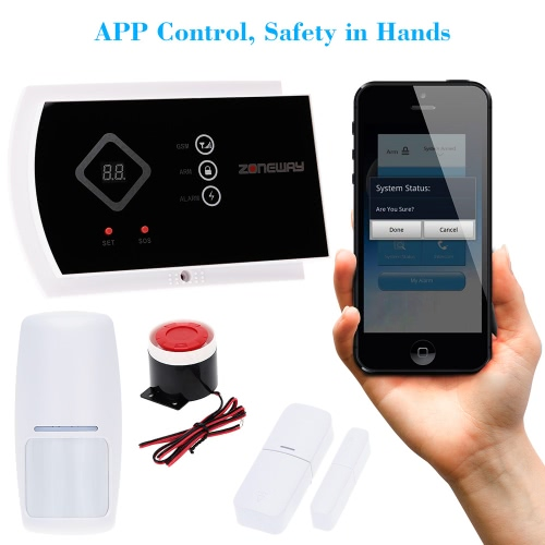 ZONEWAY sem fio IOS Android APP 433MHz Autodial GSM SMS segurança alarme sistema controle remoto 850/900/1800/1900 MHz