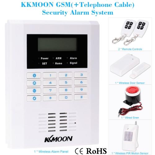 KKmoon Quad-4-Bands GSM PSTN LCD Display Drahtlos Haus Sicherheit Alarm Diebstahlschutz System 101 Zone 99 Drahtlos Zone und 2 Verdrahtet